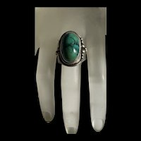 Stunning Vintage Native American Natural  Navajo Green Turquoise Sterling Silver Ring