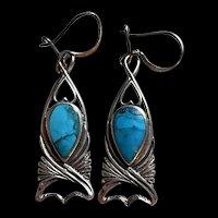 Fabulous Vintage SHA Signed Austrian Natural Blue Turquoise Drop Earrings