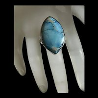 Striking Vintage Sterling Blue Turquoise Statement Ring