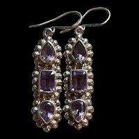 Stunning Vintage Sterling Silver Amethyst Earrings