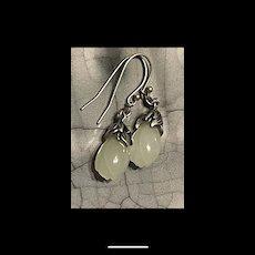 Splendid Sterling Silver Hetian White Jade Flower Bud Earrings