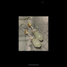 Exquisite 14 Gild Sterling Silver Hetian White Jade Flower Bud Dangling Earrings