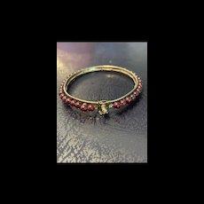 Fabulous Art Deco Gold Filled Garnet Sterling Silver Bangle Bracelet