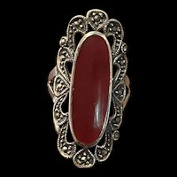 Gorgeous Vintage Sterling Silver Red Carnelian With Marcasite Ring