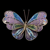Stunning 800 Silver Enameled Filigree Butterfly Brooch