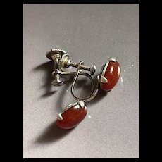 Vintage Art Deco Sterling Silver Carnelian Screw Back Earrings