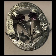 Vintage 1960's Ward Brothers Sterling Silver Scottish Wreath and Thistles With Glass Amethyst Brooch/Pin