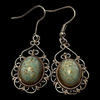 Stunning Sterling Vintage Mexico Filigree Sterling Silver Turquoise Dangling Earrings