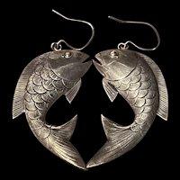 Vintage Large Sterling Silver Fish Shape Dangle Earrings