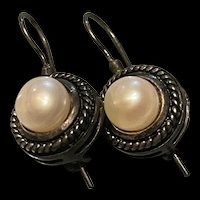 Antique Edwardian/Art Deco Sterling Silver Culture Pearl On Elongated Wires