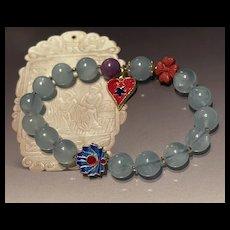 Rare Blue Aquamarine Beads Stretch Bracelet