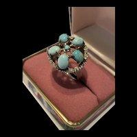 Splendid Vintage Gilded Sterling Silver Turquoise Cluster Ring