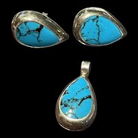Stunning Vintage Mexico Sterling Silver Amethyst Turquoise Earrings With Pendant