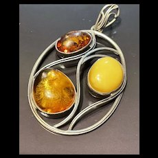 Fabulous Vintage Large Sterling Silver Baltic Amber Pendant