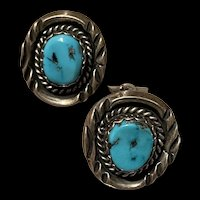 Stunning Vintage Native American Sterling Turquoise Clip Earrings