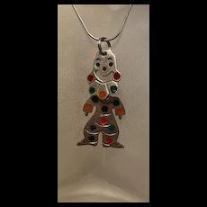 Stunning Vintage Mexico Sterling Enamel Articulating Polka Dot Clown Pendant
