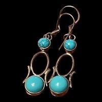 Stunning Vintage Sterling Howlite Drop Earrings