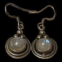 Stunning Vintage Sterling Silver Moonstone Drop Earrings