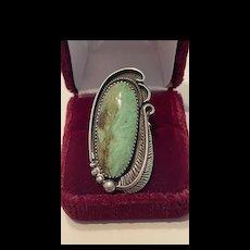 Splendid Large Native American Navajo Turquoise Statement Ring