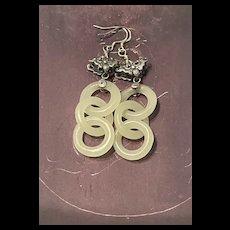 Vintage Chinese Hand Carved Devil's Work  Interlock White Jade Sterling Butterfly Dangle Earrings