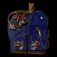 Gorgeous Vintage Enameled Lapis Elegant Pendant