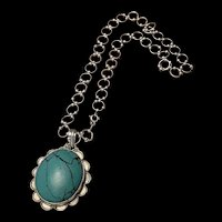 Vintage ATI Sterling Silver Turquoise Pendant Link Necklace