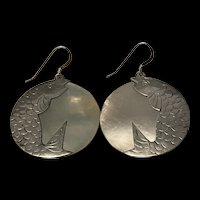 Unusually Large Vintage Mother Of Pearl Inlay Sterling Silver Fish Drop Earrings