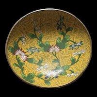 Antique Chinese Yellow Ground Floral Cloisonné Enamel Trinket Dish
