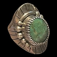 Stunning Vintage Native American Navajo Sterling Turquoise Ring
