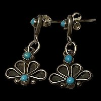 Vintage Zuni Petit Point Sterling Drop Earrings