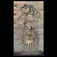 Stunning Vintage Sterling Celestial Smiling Sun Face Pendant Necklace