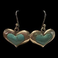 Stunning Vintage Thailand Sterling Heart Inlaid Turquoise Drop Earrings With Fully Hallmarks