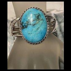 Incredible Vibrant Vintage Arizona Large Natural Turquoise Cuff Bracelet