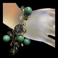 Stunning Vintage Turquoise Beads With Multi Glass Beads Bracelet