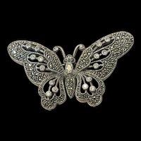 Vintage Designer Judith Jack Marcasite Butterfly Brooch Pin