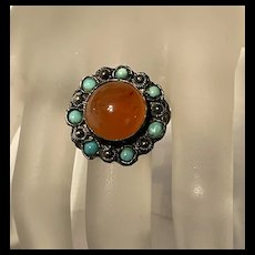 Gorgeous Victorian Sterling Carnelian With Turquoise Ring