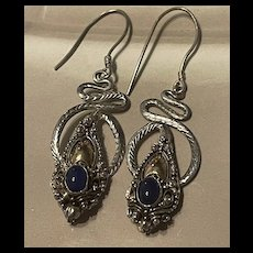 Stunning Vintage Lapis Lazuli Coiled Snake Sterling Silver Drop Earrings
