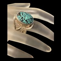 Impressive Rare Deep Green Turquoise Sterling Ring With Fully Hallmarked