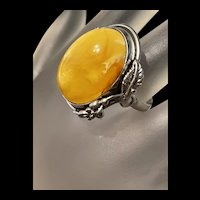 Splendid Large Antique Baltic Butterscotch Amber Statement Ring
