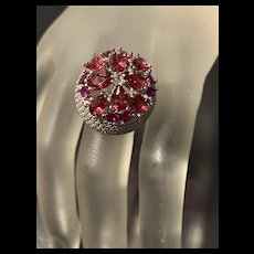 Magnificent Vintage Sterling Large Ladies Dome Cluster Ruby Statement Ring