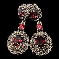 Gorgeous Art Deco Vintage Sterling Garnet With Marcasite Dangling Earrings