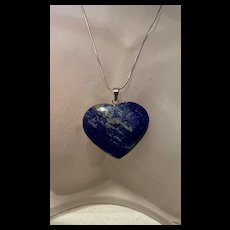 Large Vintage Puffy Heart Lapis Lazuli Sterling Pendant