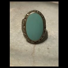 Art Deco 1920's Large Sleep Beauty Turquoise With Marcasite Sterling Ring
