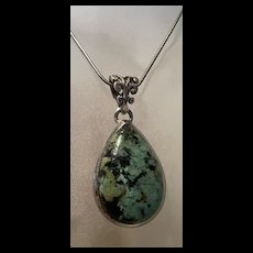 Rare Native American Deep Green Turquoise Sterling Pendant