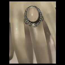 Gorgeous Art Deco Rose Quartz With Marcasite Sterling Ring