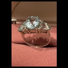 Incredible 1940's Vintage Aquamarine Sterling Silver Ring With Fully Hallmarks
