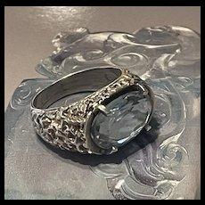Elegant Art Deco Aquamarine Sterling Ring With Fully Hallmarks
