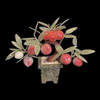 Vintage Carved Chinese Jade Peach Tree Bonsai