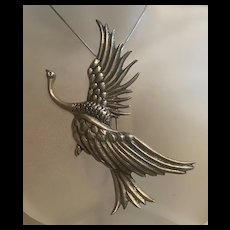 Usually Large Danecraft  Art Nouveau Flying Swan Sterling Silver Brooch