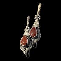 Amazing EdwardIan Sterling Silver Carnelian Drop Earrings